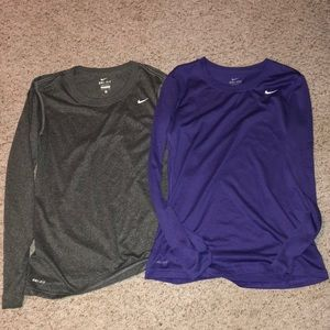 Two Nike Dri Fit long sleeves